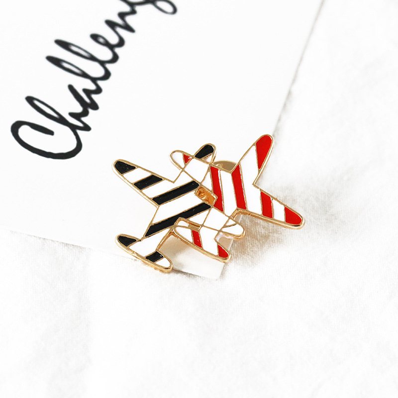 Fashion Japanese and Korean style small aircraft striped oil drop alloy brooch NHDP157504
