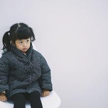 兒童棉衣冬款 韓板棉麻加厚棉衣 男女童細格仔加厚中長款棉衣