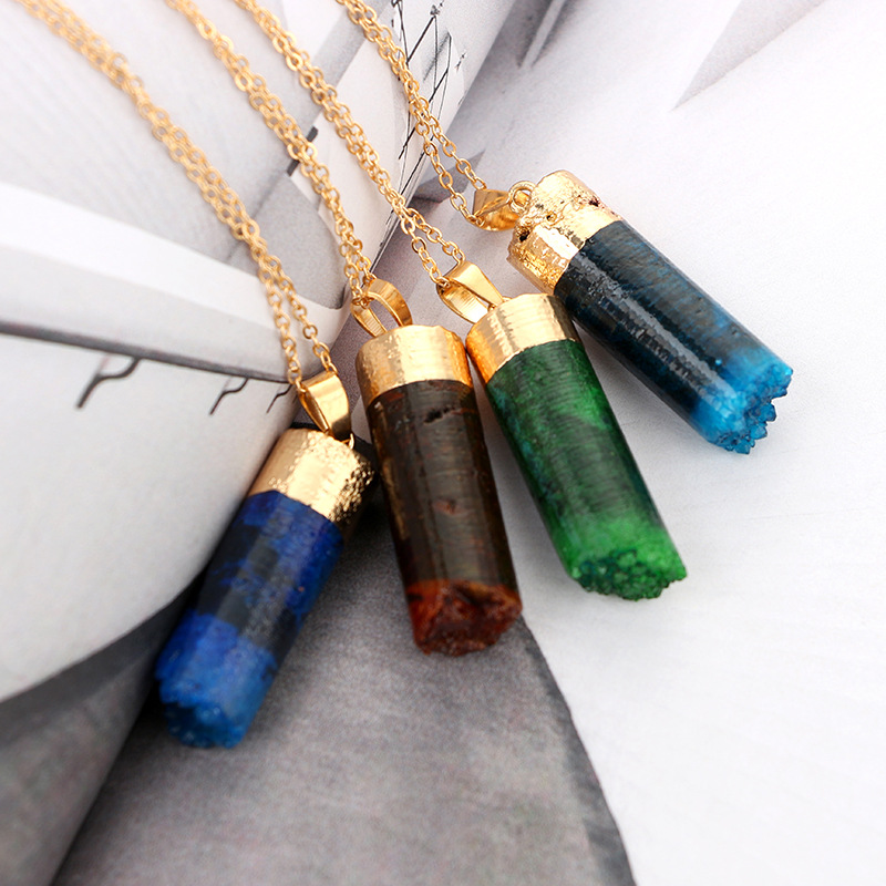 Occident and the United States Natural raw stone dyeing plating necklace (green)NHGY0653-green