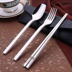 韩式304不锈钢加厚高端便携式餐具三件套学生旅行勺叉筷子盒套装
