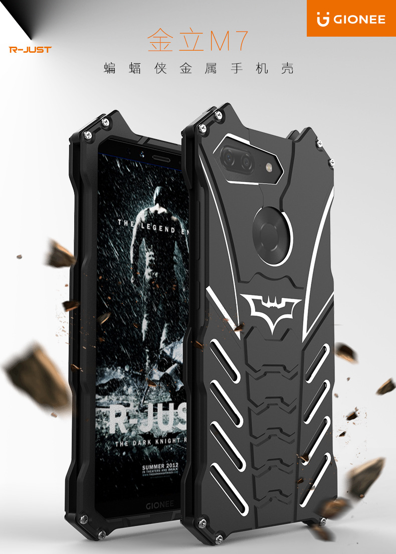 R-Just Batman Shockproof Aluminum Shell Metal Case with Custom Batarang Stent for Gionee M7