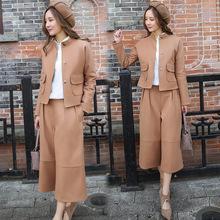 2017春季女士新款時尚休閑兩件套套裝韓版純色氣質干練闊腿褲套裝