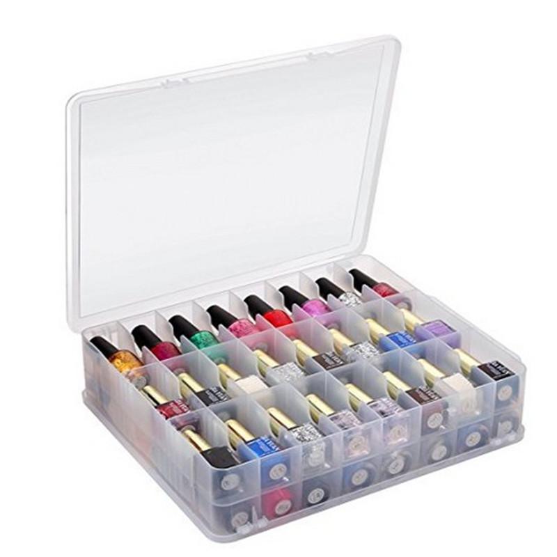 48格指甲油美甲饰品收纳盒透明塑料盒口红收纳盒手提化妆盒双层