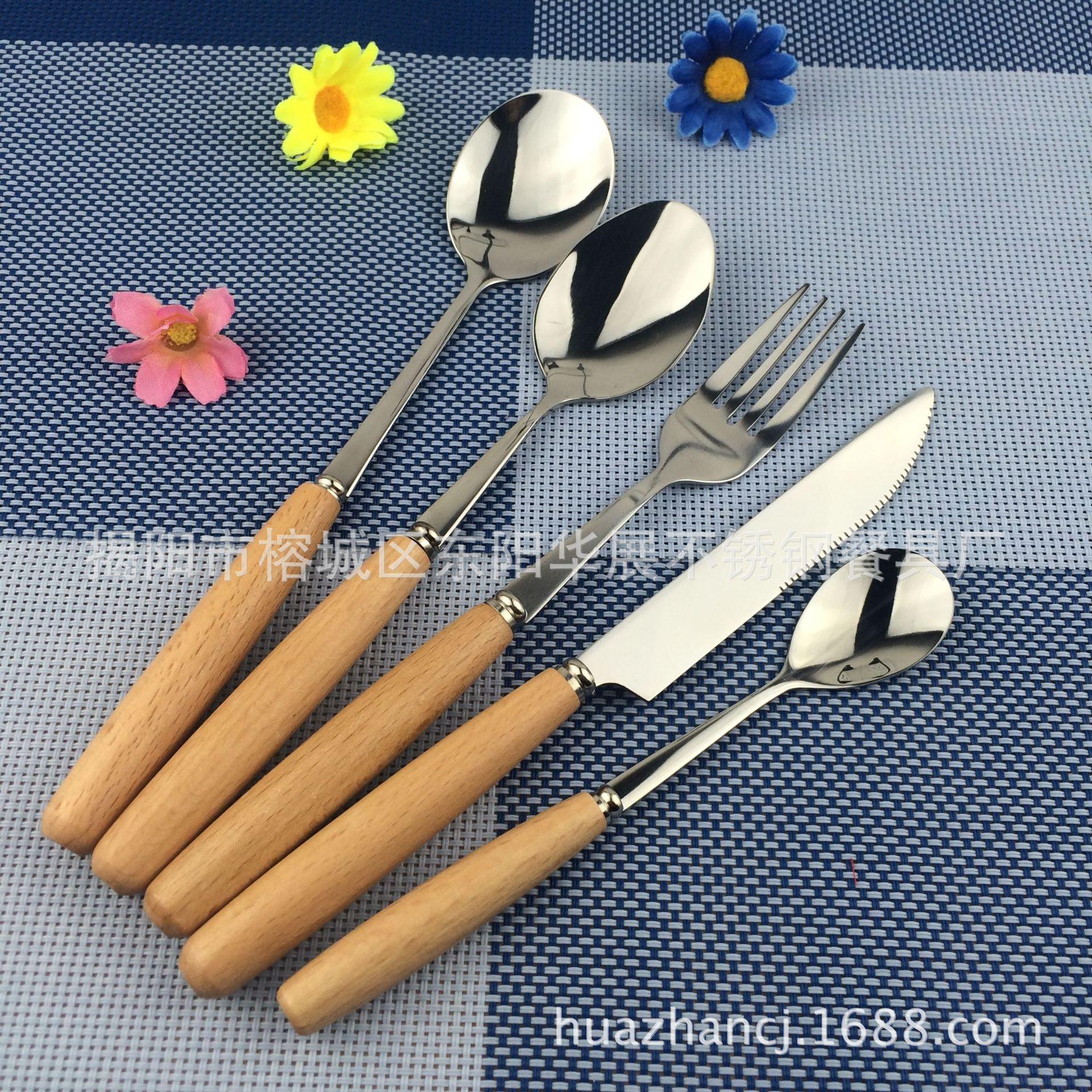 供應圣誕節勺叉刀子筷子餐具不銹鋼木柄勺叉組合禮品套裝餐具批發
