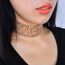 欧美跨境饰品 时尚镂空字母满钻颈链 ANGEL个性潮女街拍水钻项链