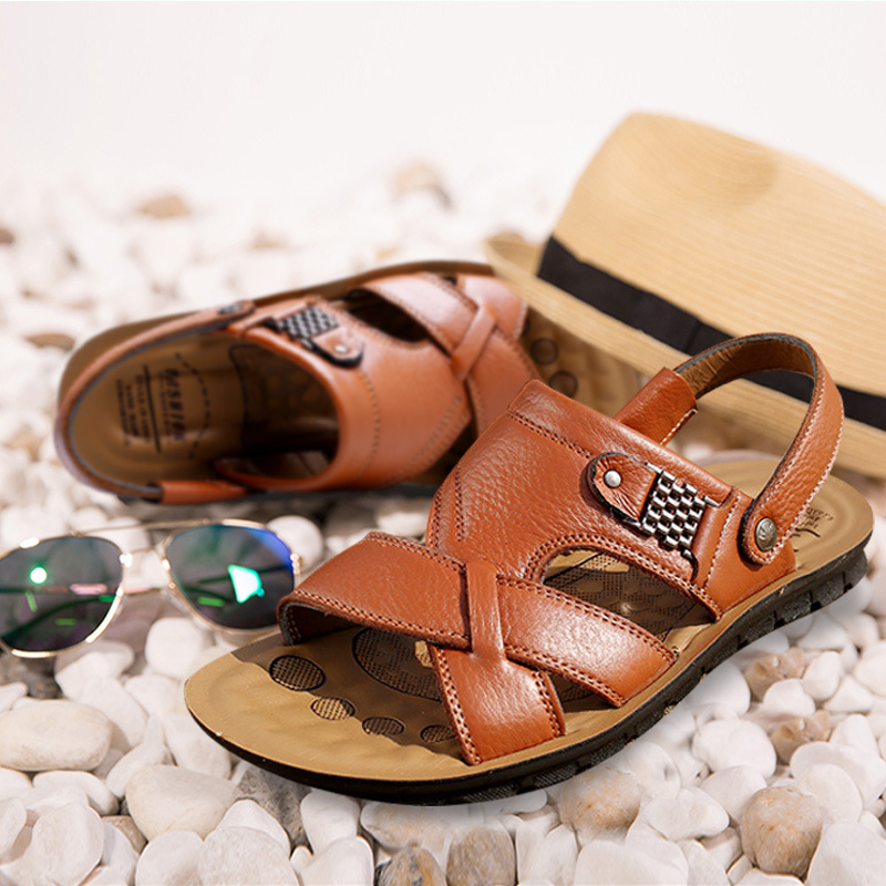 新款男士真皮休闲凉拖鞋经典沙滩鞋男式越南凉鞋地摊跑江湖鞋批发