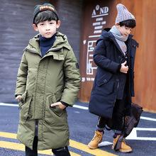 2018韓版百搭童外套男童中大童冬季帶帽長款加厚棉衣 潮一件代銷