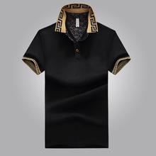 新款简约时尚翻领带纽扣男式polo衫男式短袖t恤夏季薄款上衣批发