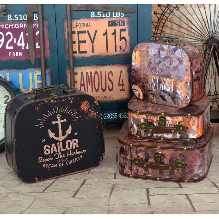 三件套复古老式手提箱欧美工业风格装饰箱专卖店酒吧道具箱多款