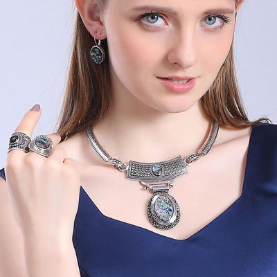 欧美饰品天然彩贝项圈套装女士时尚戒指耳饰项圈三件套首饰百搭