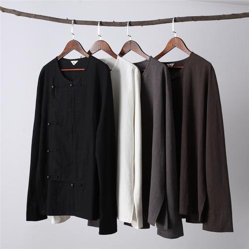 men kungfu clothing men national round neck cotton hemp men T-shirt