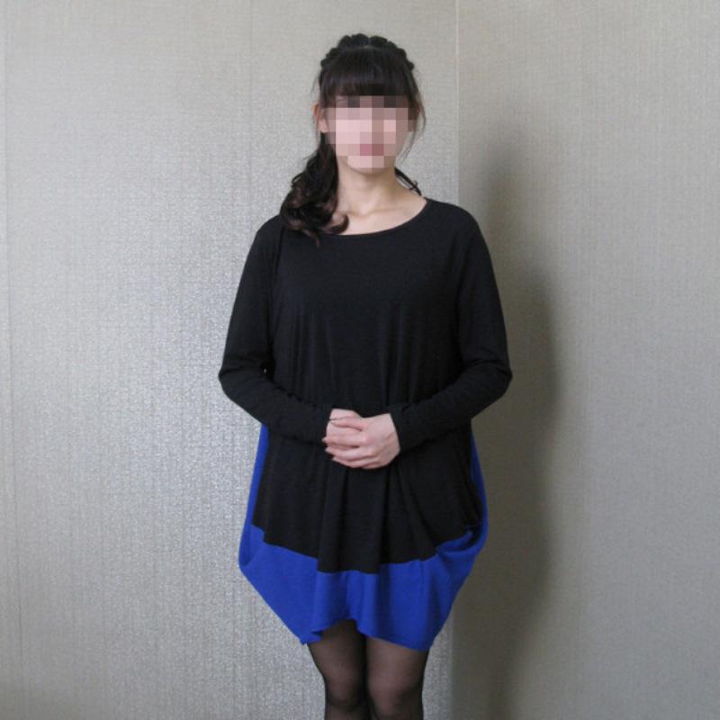 爱慧良品牌韩版女装 雪纺拼接长袖t恤韩版女装