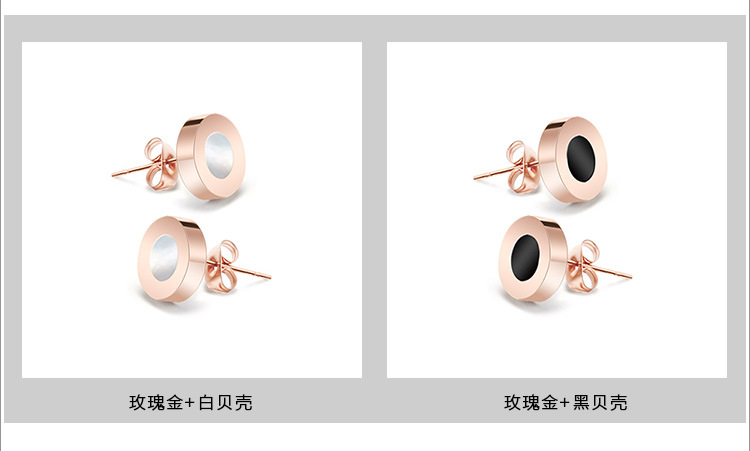Titanium&Stainless Steel Korea Geometric earring(Rose gold + white shell) NHOK0075-Rose-gold-white-shell