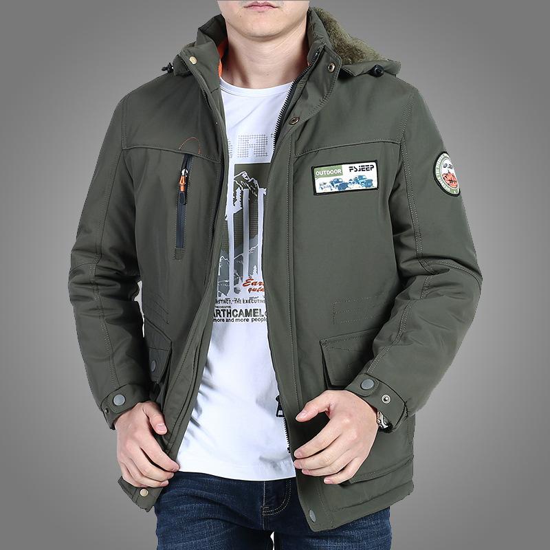 620款吉普战车男士休闲棉衣中长款加绒加大棉袄保暖棉服冬季外套