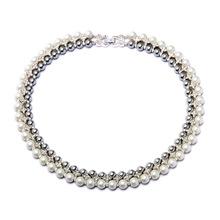 青島歐美時尚飾品批發 短款簡約雙層珍珠氣質女士短款項鏈毛衣鏈