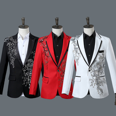 men's jazz dance suit blazers Male singer nightclub stage performance suit western suit bar dress three dimensional bilateral inlay diamond suit