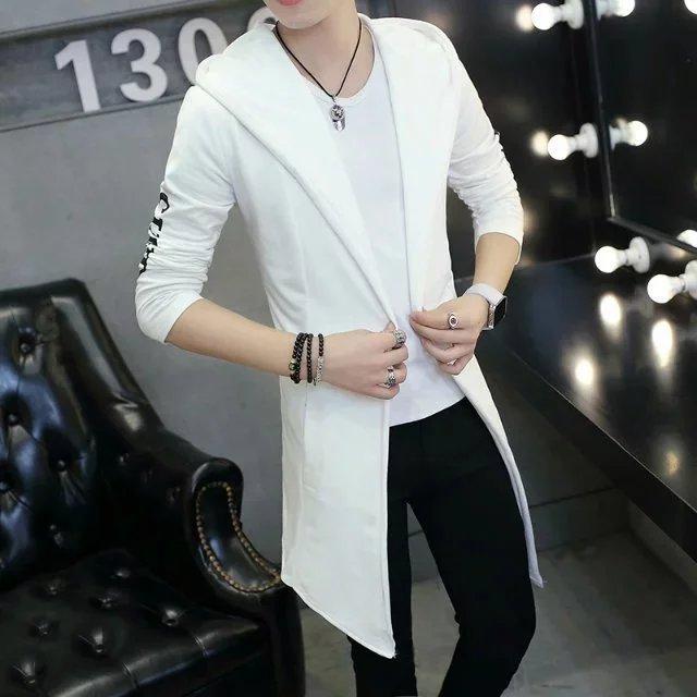秋季男士外套中长款开衫男生褂子青少年风衣卫衣连帽韩版修身