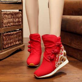 海浪花 老北京绣花棉靴民族风橡胶底冬季二棉靴子
