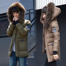 羽绒服男中长款工装户外青少年学生秋冬 保暖外套一件代发羽绒服
