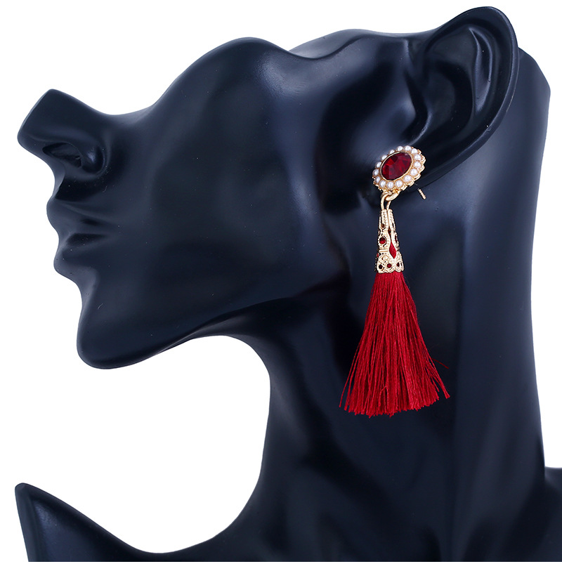 Occident and the United States alloy Drip oil earring (KC gold - red)NHKQ1148-KC gold - red