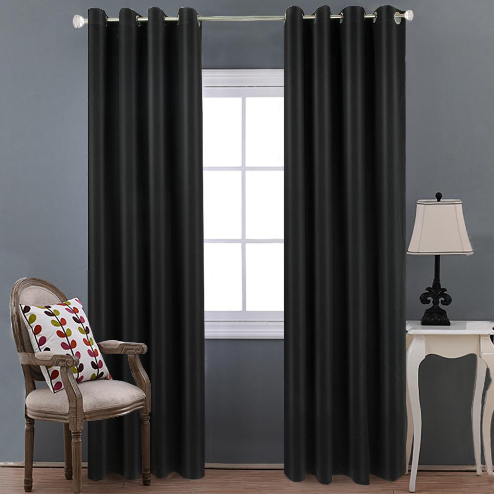 厂家直销高精密黑色窗帘遮光布隔热窗帘北欧风格窗帘跨境纯色窗帘