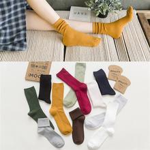 细条双针女士中筒袜 秋冬新款全棉糖果色堆堆袜 百搭复古袜子批发