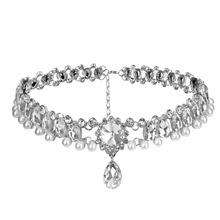 欧美时尚大牌夸张珍珠水晶镶钻锁骨链女士项饰项链速卖通热销颈链