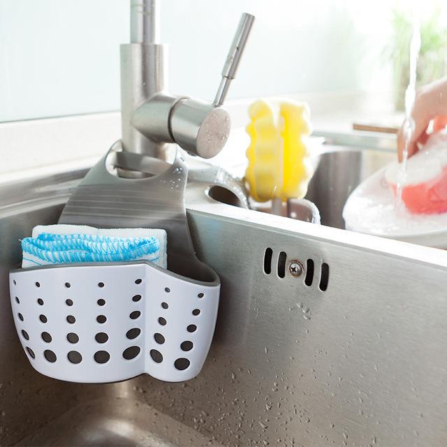 厨房双层水槽挂袋沥水篮 浴室置物架 创意时尚厨房小收纳挂袋
