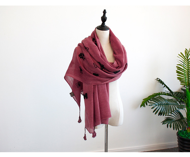 Cottonscarf (Rose red -200X85cm)NHNBS1776-Rose red -200X85cm