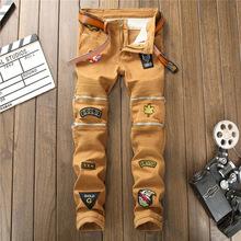 新款时尚都市欧美风格男式拼接弹力牛仔裤深卡其刺绣小直筒潮裤