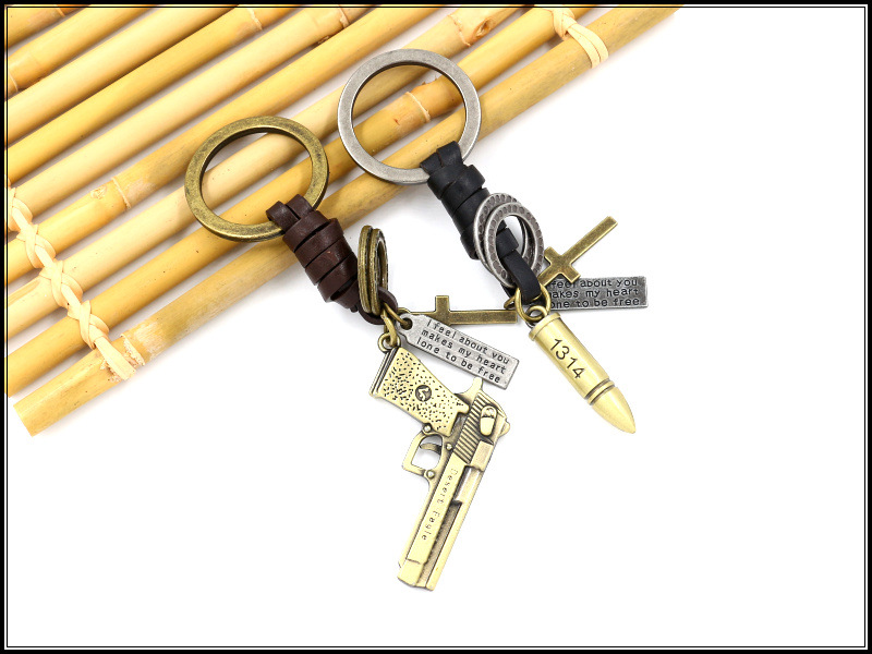 Metal key ring pistol bullet cowhide braided keychain couple jewelry gift NHHM194422