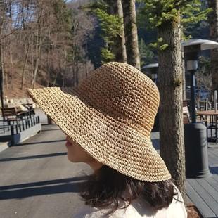 2019夏季纯手工可折叠遮阳防晒沙滩度假休闲旅游钩针可折叠草帽子