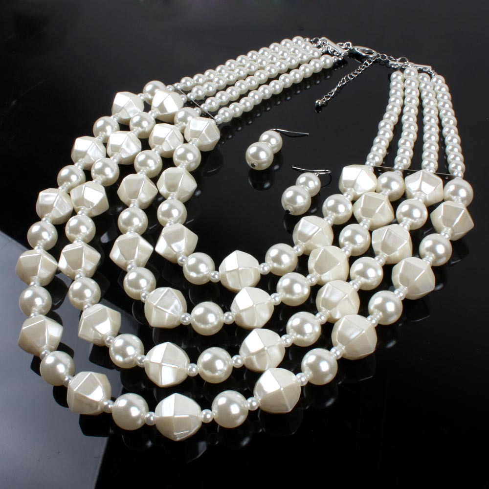 Occident and the United States pearlnecklace (creamy-white)NHCT0074-creamy-white