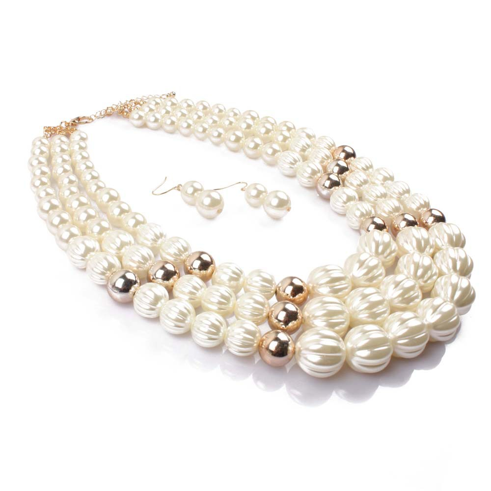 Occident and the United States pearlnecklace (creamy-white)NHCT0071-creamy-white