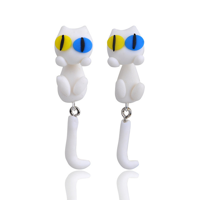 Cute little white cat soft clay earrings animal simulation earrings double color eyes handmade soft clay wholesale nihaojewelry NHGY219466