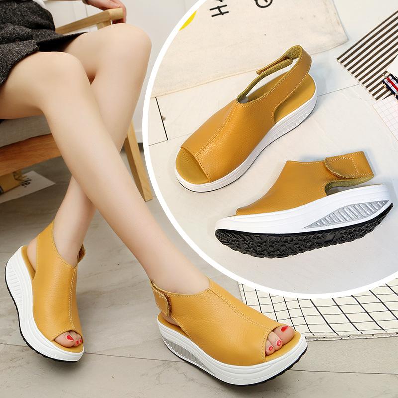 19新款摇摇鞋女夏凉鞋厚底魔术贴坡跟松糕中跟防水台鱼嘴大码凉鞋