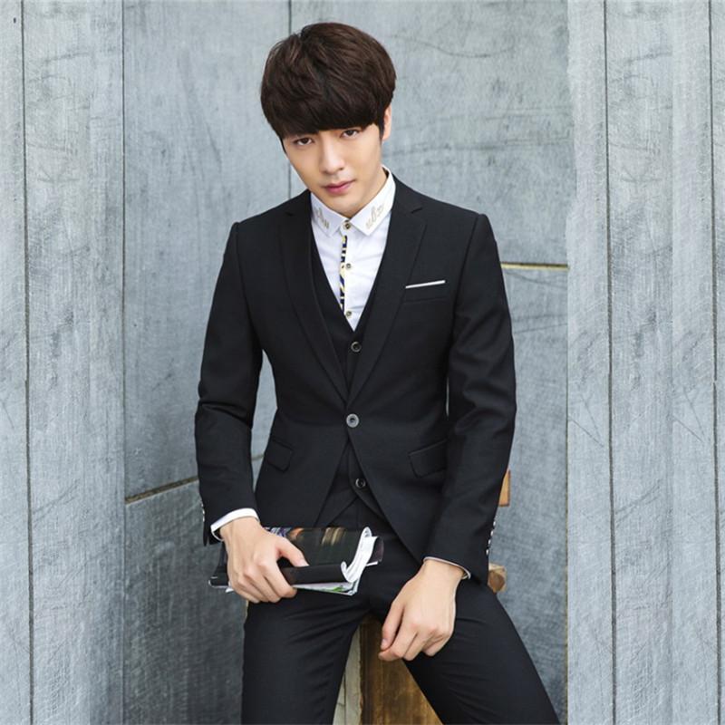 新款男装男士西装西服套装男韩版修身定制商务正装新郎伴郎服一套