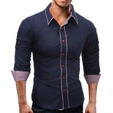 外貿eBay春秋新款休閑時尚男撞色格子包邊修身長袖襯衫襯衣