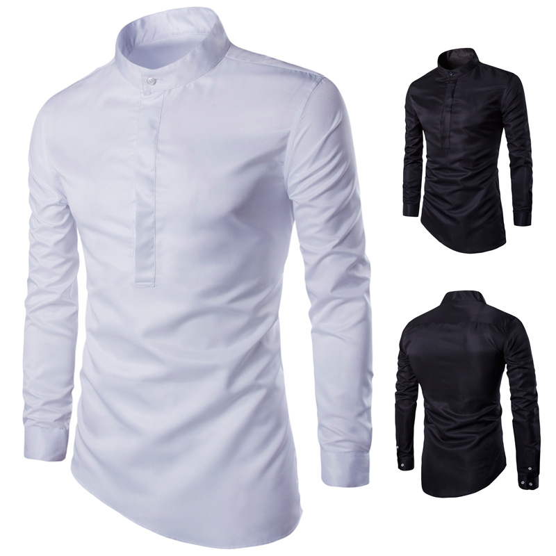 Quick sell new men's stand collar Pullover slim fit long sleeve shirt slant hem casual large size shirt light goods
