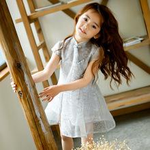 女童连衣裙夏2018新款韩版儿童公主裙中大童旗袍复古短袖气质裙子
