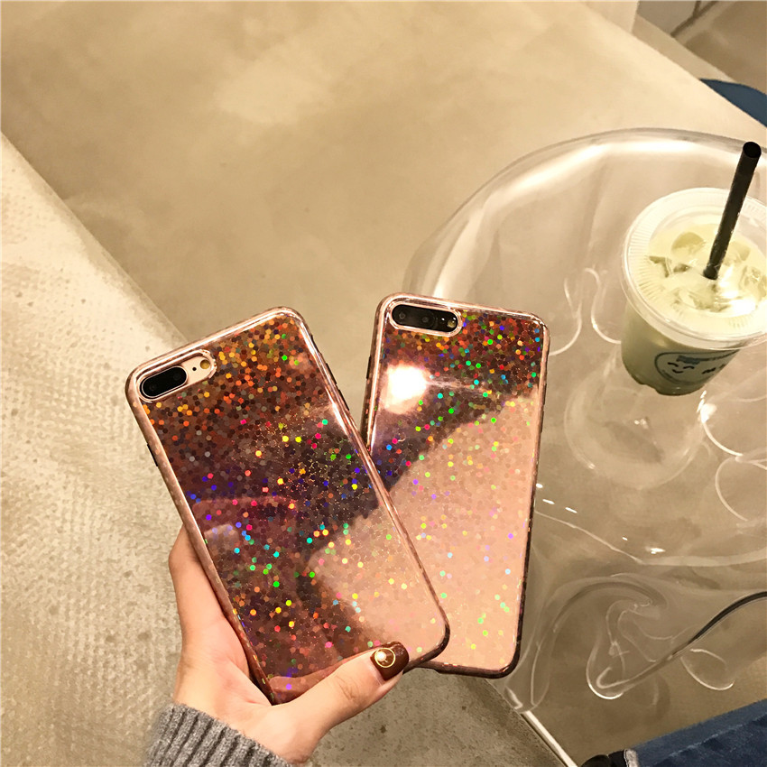 Korea ins laser bright wave point iphoneX mobile phone shell imd sequin tpu apple 8 mobile phone case