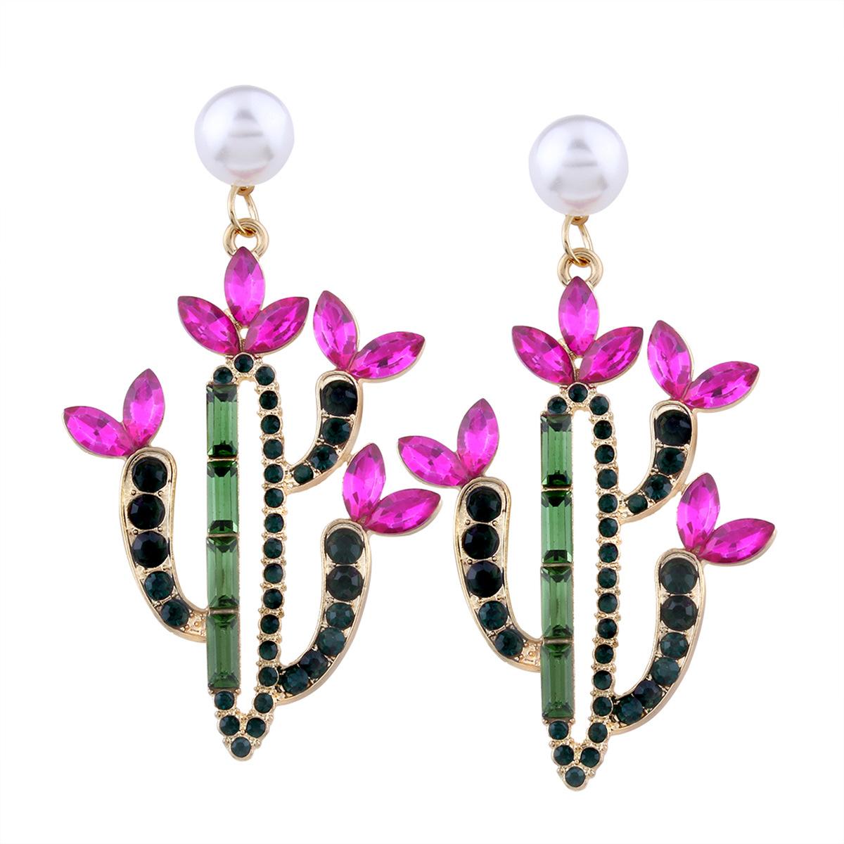 Korea style alloy Diamond earring (Pink)NHNMD3758-Pink