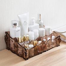 花雕纹透明化妆品收纳盒 桌面塑料多格整理盒护肤品置物架