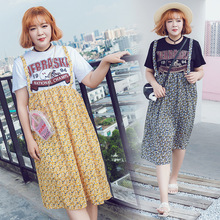 Summer new floral suspender skirt fake two-piece dress Add fertilizer to increase 200 kg large size women's 2109