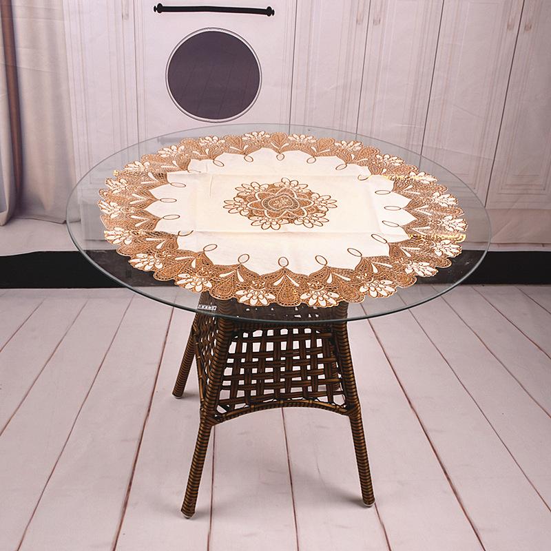 欧式PVC烫金圆桌布防水防油防烫台布酒店70厘米镂空小圆盘餐桌垫