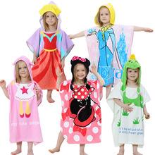 外贸新款卡通儿童浴袍 带帽毛巾料宝宝印花浴巾工厂直销一件代发
