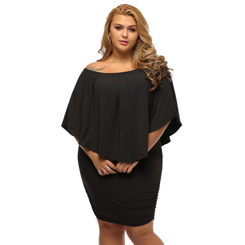 歐美女裝性感抹胸一字領不規則荷葉邊短裙包臀加大碼連衣裙22820