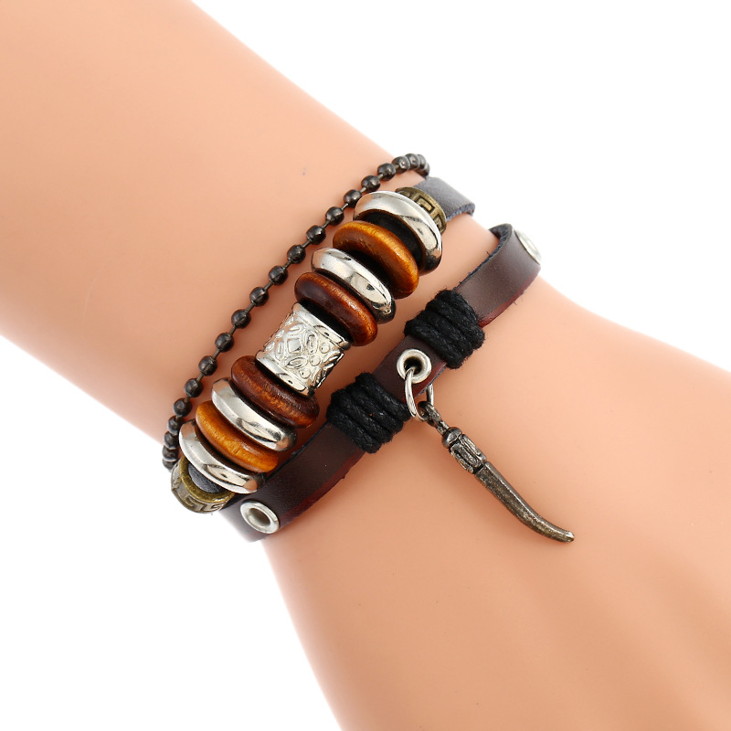 Leather Fashion Geometric bracelet  (Dark brown) NHPK1242-Dark brown