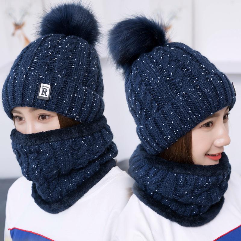 帽子女冬毛线护耳加绒保暖针织帽女骑车防风护耳帽套头帽R标套帽