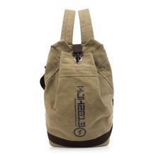 2017韩版帆布双肩包水桶背包休闲学生书包篮球包速卖通跨境外贸